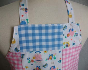 Apron for girls pink gingham and naive designs - apron pink and blue - bibbed apron pink and blue - gingham apron gift idea