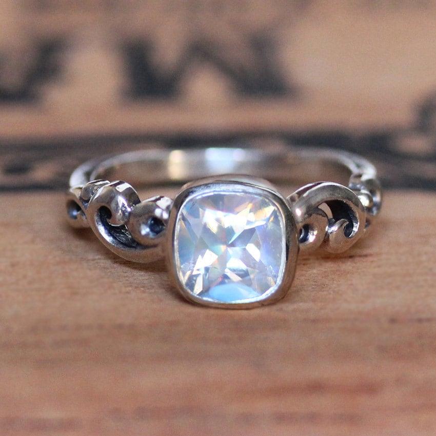 zoom - Moonstone Wedding Rings