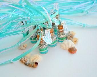 Mermaid  Necklaces, Mermaid Party Favors, Sea Foam Green, silver, Teal, Aqua, Mint, Ocean Party, Beach Party, Sea, Mermaid Favor, Minatures