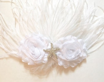 White, Rhinestone Starfish Feather Hair Fascinator, Feather Hair Clips, Destination Wedding, Flower Girl Dance Costume Competition,Baptism