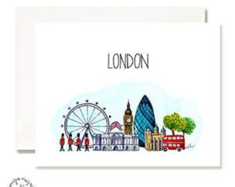 London Illustration Card - Handmade - Set of 10- A2 Blank