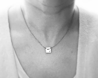 Square Tag Necklace in Stainless Steel • Various Lengths Available