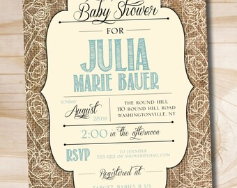 Burlap Shabby Chic Shower Invitation - Printable digital file or printed invitations
