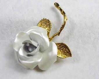 Vintage signed Giovanni enameled rose brooch pin.