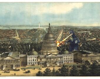 Digital Print, Washington DC, Monster Art, Congress, Kaiju, Capitol, Wall Art, Alternate Histories, Washington, Capitol Hill, Geekery