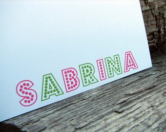 Personalized Note Cards on a Flat Note Girly Marquees