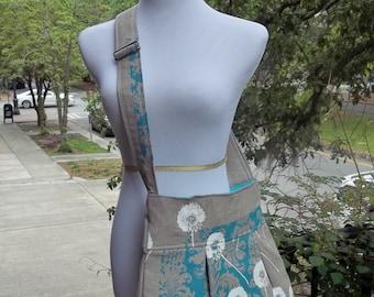 Dandelion Messenger Bag  - Robins Egg Blue Print on Raw Linen - 3 Pockets - Key Fob - Adjustable Strap