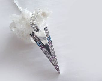 Pave arrow mosaic gold necklace -Sterling silver necklace micro cubic zirconia triangle pendant-Jewelry silver plated necklace-  women gift
