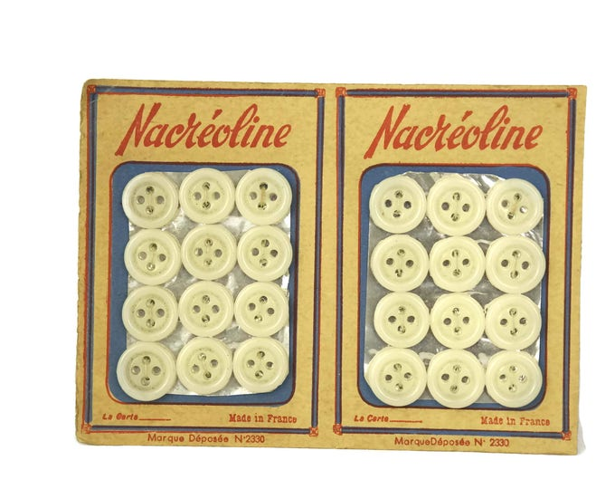 Collectible White Sewing Buttons with French Advertising. Vintage Button Card. Craft Room Decor. Gifts For Her. Sample Card.