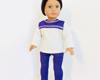Purple and White Sparkle Hi-Low Top and Jeggings, AG Doll Clothing, 18 Inch Doll Clothing, Made To Fit American Girl Doll
