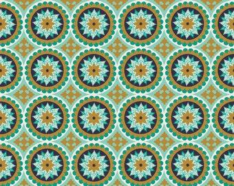 La Vie Boheme, Riley Blake Fabric SC4742 Teal Medallion Fabric, Bohemian Style Fabric, Metallic Medallion, Gold, Teal, Navy, Cotton