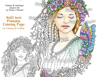 Dreaming Fairy Tangles Printable Coloring Book Pages & Sheets by Norma Burnell Fairies for Digital Coloring Adult Coloring Fairies to color