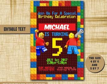 Lego Invitation, Lego Birthday, Lego Birthday Invitation,Lego PDF editable text,Lego party,invitation Lego,Birthday,Invitation,Lego