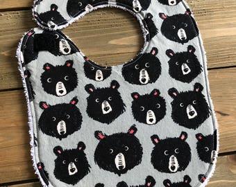Baby Bib - Teddy and the Bears Print - Baby Shower Gift - Cotton Bib - Teddy Bear Bib