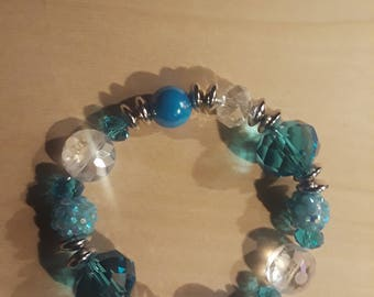 Teal Handcrafted Stretch Cord Bracelet