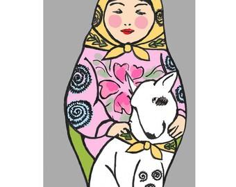 Matryoshka and Dog - Bull Terrier - Russian Doll - Mini Print