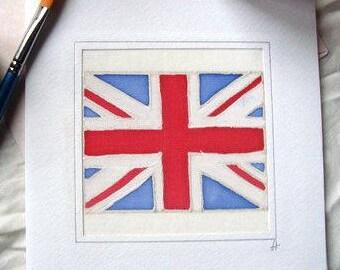 British Union Jack Flag/Hand Painted Silk Greeting Card/United Kingdom/UK Union Jack/Englang Flag Card/UK Flag/British Union Jack Card Gift.