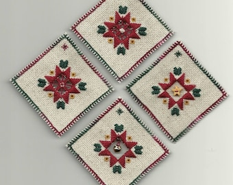 Country Christmas Ornaments kit in hardanger embroidery