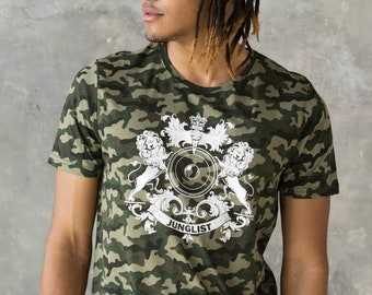 Junglist Coat Of Arms T Shirt  Jungle Massive Crest Drum and Bass DJ & Synth 808 Music Producer Festival Camo Camouflage Graphic Printed Tee