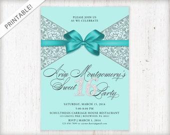 Sweet 16 Invitation - Sweet Sixteen Birthday Invite - Turquoise Blue - Bow - Printable Digital File