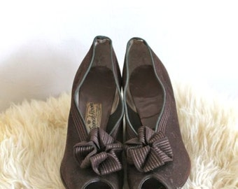 vintage 30s shoes - RIBBON BOW brown twill peep toes / sz 6