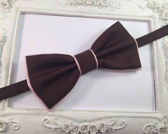 Bow tie Double chocolate brown and pale pink - man