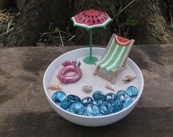 Watermelon beach chair , umbrella and pink flamingo flotation device set