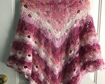 Large Crocheted Prayer Shawl Handmade - Ready to Ship