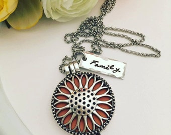 Personalized Necklace - Hand Stamped Aromatherapy Necklace - Aromatherapy Essential Oil Diffuser Locket - Essential Oil Diffuser Necklace