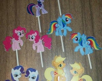 Double sided my little pony cupcake toppers