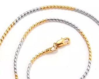 White And Yellow Gold Plated Chain Necklace