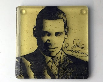 Paul Robeson Fused Glass Coaster, Singer Coaster, Icon Coaster