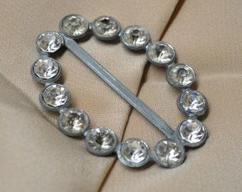 1930's Art Deco Pot Metal and Paste Belt Buckle Faux Diamonds