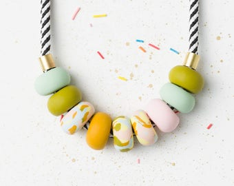 Chunky necklace, Colorful necklace, Statement necklace, Olive Modern necklace, Geometric necklace, Geometric jewelry, Polymer Clay necklace