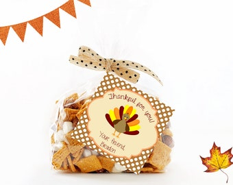 Thanksgiving Treat Tags, Printable Personalized Thankful for you tags, Thanksgiving Gift Tags, Thanksgiving Tags, Favor Tags, Digital