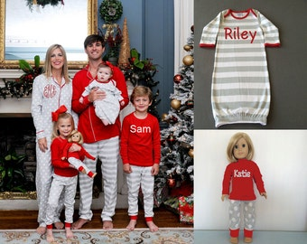 Personalized Christmas Pajamas Monogrammed Christmas Pajamas Christmas pajamas for Children Personalized Christmas pjs Embroidered Christmas