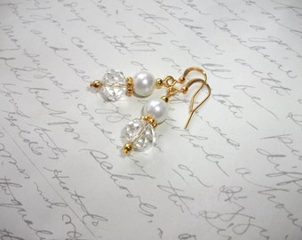 Pearl and crystal gold drop earrings