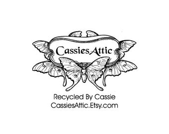 Gorgeous Art Nouveau butterfly custom rubber stamp 100 year old image