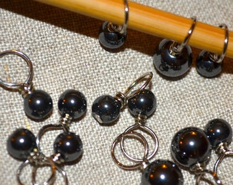 Black faux pearl handmade stitch markers for knitting (Qty 12)