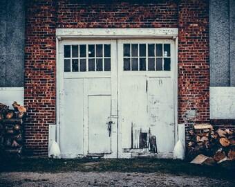 """Photograph Door Industrial Wall Fine Art Photo Factory Graffiti Rust Brick Steel Decor  // """"Lock It Down"""" // 8x10 11x14 16x20 24x30"""