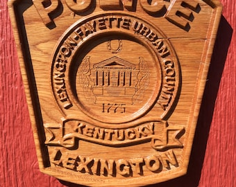 Police Lexington Kentucky Oak Wall Plaque