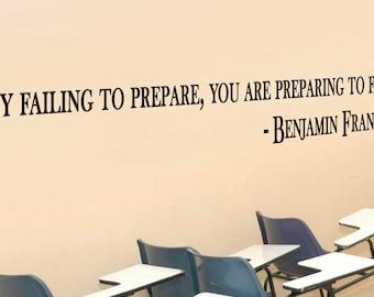 "Ben Franklin Inspirational Classroom Motivational Quote Vinyl Wall Sticker Decal 7""h x 48""w"