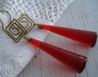 Vintage Red and Gold Long Dangles Earrings Hip to be Squared Spiral