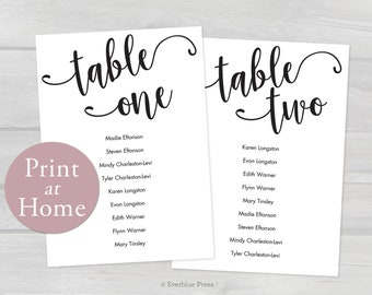 4x6 Printable Wedding Seating Chart Cards Tables 1-20, Editable PDF, Instant Download, Guest Names Tables Seating Chart, Black Seating Chart