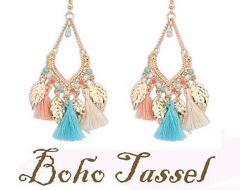 Boho Tassel Beaded Gold Plated Earrings