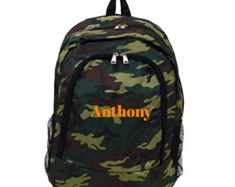 Personalized Camo Camouflage Bookbag Backpack wih Custom Embroidery Back to School