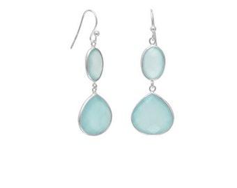 Sea Green Chalcedony Drop Earrings