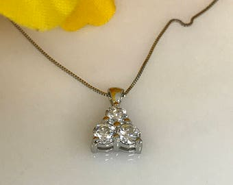 """3 Stone Round Triangle Style Simulated Diamond .75 ctw set in 14k White Gold with 18"""" 14K White Gold Box Chain #5321"""