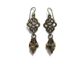 Dangle Earrings on Niobium Ear Wires Czech Focal Bead with Antique Brass Knot Dangle Pendant Drop