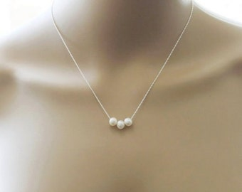 Real pearl necklace- Rope chain- Three pearl floating necklace- infinity necklace- Bridesmaid necklace- Bridesmaid jewelry- Bridal necklace